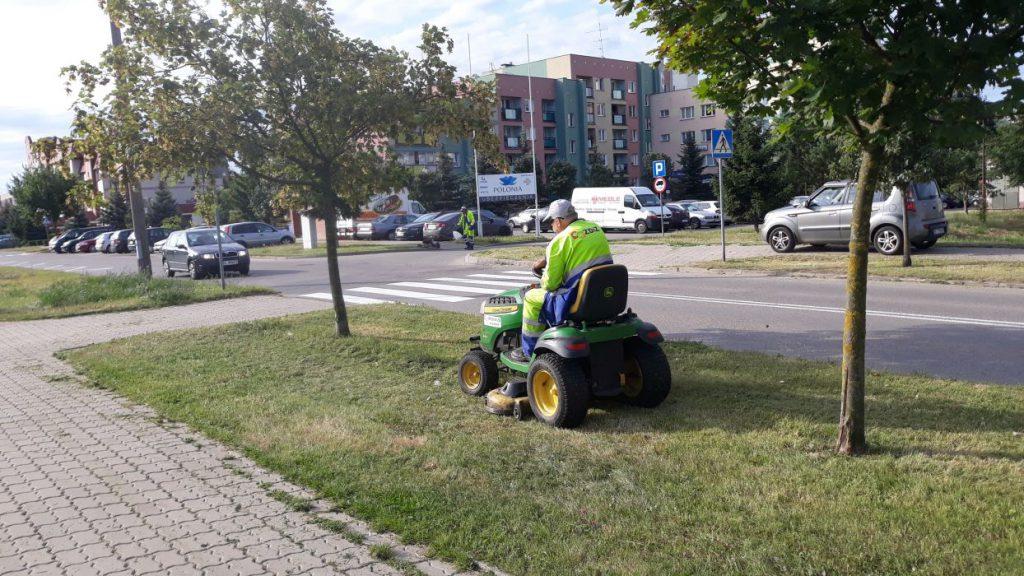 koszenie trawy przy chodniku