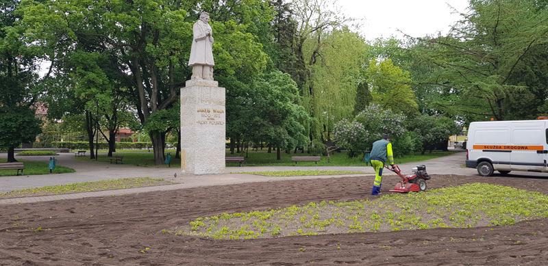 pracownik MPGKiM porządkuje teren parku