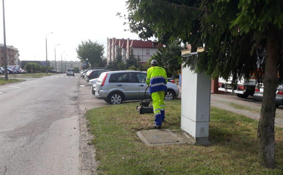 pracownik MPGKiM kosi trawę