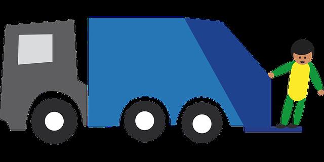 obrazek przedstawiający człowieka na śmieciarce