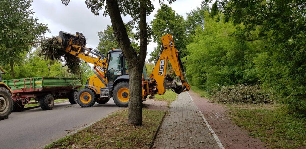 pracownicy MPGKiM sprzątają teren po nawałnicy