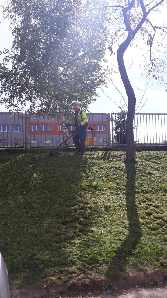 mężczyzna kosi trawę w parku